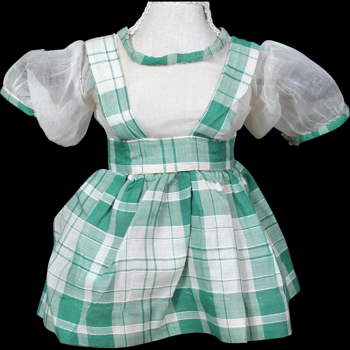 1930's Organdy/Cotton two Piece Plaid Dress