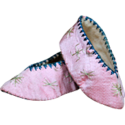 Oriental Silk Pink Embroidered Slippers
