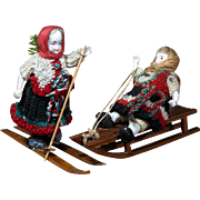 All-Bisque Snow Children in Original Crocheted Outfits, Wooden Snow Toys