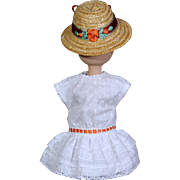 Bleuette Eyelet Dress and Straw hat