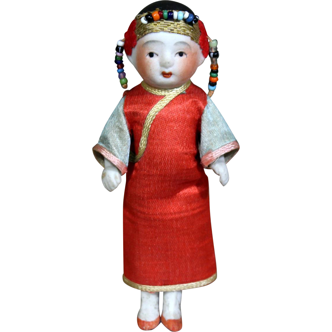 Wire-Jointed All Bisque Japanese doll