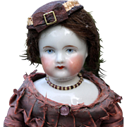 Chubby-Faced Wigged Child German China Doll