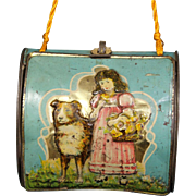 Antique Tin Litho Purse with Child & Dog