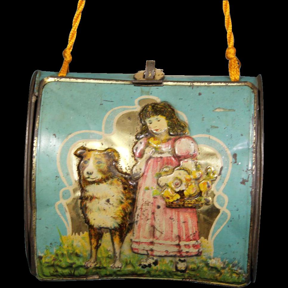 Antique Tin Litho Purse with Child & Dog