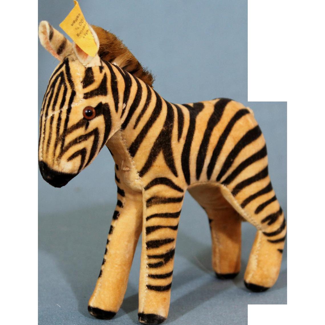 Steiff Velveteen Zebra with button, tag 1950's