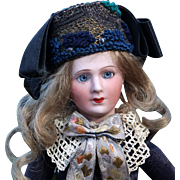 Unusual French Bisque Lady Doll  by Limoges Tavernier
