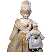 Parian-Type Bonnet Head Doll with Baby
