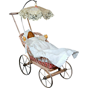 Pink Wicker Baby Doll Carriage 1930's