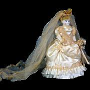German Bisque Dollhouse Doll as  Bride