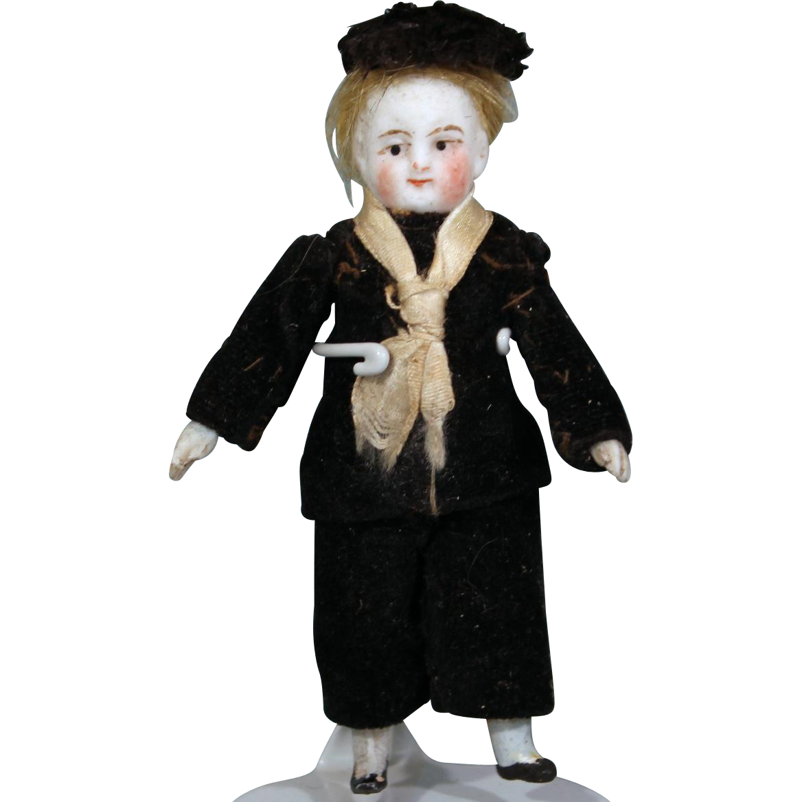 All Bisque Dollhouse doll in Original Costume, 3.25 inches