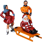 Barclay Winter Series Santa Claus on Sled and Two Iceskaters