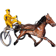 Metal Painted Galloping Horse and Rider
