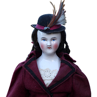 Early Wigged China Young Lady in Smart Wool Costume