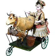 "French Mechanical Toy ""Milkmaid Bringing Home the Cow"" by Gustav Vichy"
