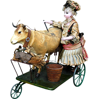 """French Mechanical Toy """"Milkmaid Bringing Home the Cow"""" by Gustav Vichy"""