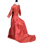 Antique french Fashion Dress with Demi Train