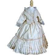 "Antique Two Piece  Silk Ensemble for 14-15"" French Fashion Doll"