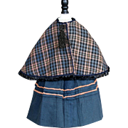 Plaid Cape and Wool Skirt for french Fashion