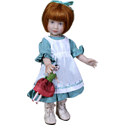 "2016 UFDC Souvenier Doll ""Emily"" by NIADA artist Heather Maciak 8"", + peg wooden"