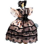 Pink & Black Silk Enfantine Fashion Dress with Fanchon Bonnet