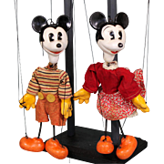 Rare Tony Sarg Mickey and Minnie Mouse Marionettes with Custom Made Display Rack