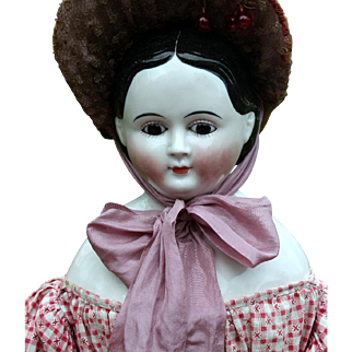 Greiner Glass-Eyed China in Lovely Antique CLothing