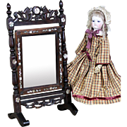 Wooden Cheval Mirror for French Fashion with Mother of Pearl Inserts