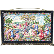 19th Century Figural Petit Point Board Mounted