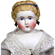 Unusual Parian Lady Doll Head with Blue Band, Curly Do