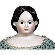1858 Greiner Paper Mache Doll with Label, Nice complexion
