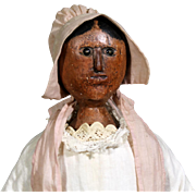 19th Century Hand-Carved Bedpost Doll, 18 inches