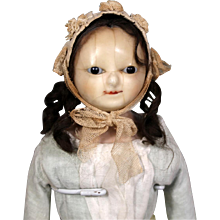 "Early English Wax Doll ""Mad Alice"" with Slit Head, Inserted Hair"