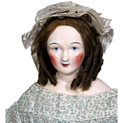 Uncommon Wigged China Lady Doll in Terrific Costume, 1850's