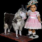 Large Antique Squeak Goat Platform Pull Toy