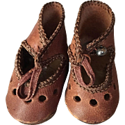 Brown Leather Shoes for French or German Doll Marked 4