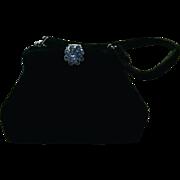 Small Black Velvet Purse with Rhinestone Closure