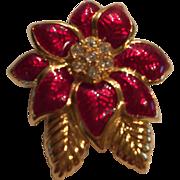 Monet Poinsettia Christmas Pin