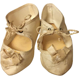 French Silk Doll Shoes Marked 8