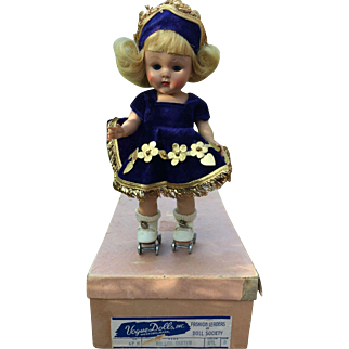 1953 Vogue Strung Painted Lash Ginny Doll Roller Skater #47 Mint in Box
