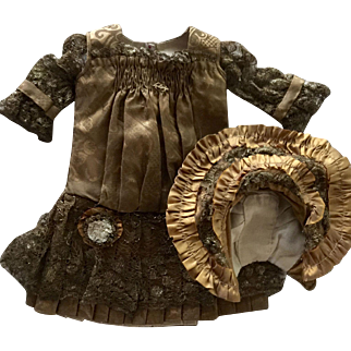 Bronze French-Style Silk Bebe Dress and Bonnet