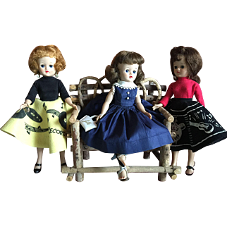 Three  1957 Vogue Jill Dolls Wearing Outfits #7406, #7405, #3163