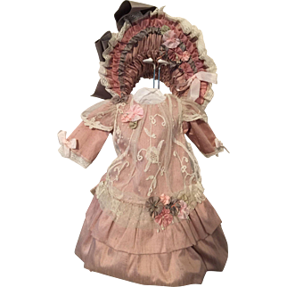 French Style Silk Dress with Matching Bonnet for BeBe Jumeau or Bru Jne