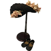 Antique Black Woven Straw Bonnet with Shoes