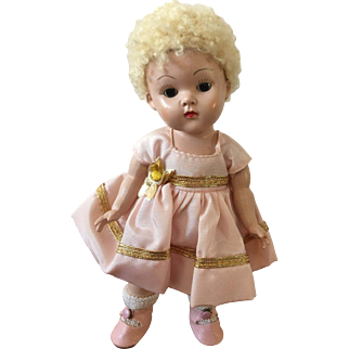 1950-51 Strung Transitional Vogue Ginny Doll with Tagged Outfit and Caracul Wig