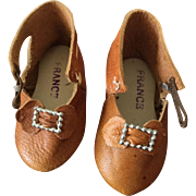 Tan Soft Leather French Doll Shoes Marked C.M.