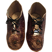 French/German Brown Leather Shoes with Rosettes marked 10