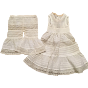 Vintage Cotton and Lace Flared Pantaloons and Doll Slip