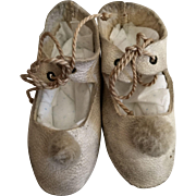 Soft White Leather Doll Shoes Marked 5 - Red Tag Sale Item