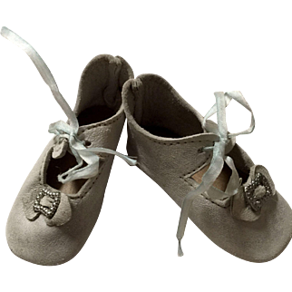 Light Blue Soft Leather Doll Shoes
