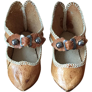 Tan Leather Shoes for Bebe Au Bon Marche Marked 5